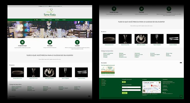 Montagem do site da Serve Festa Locação