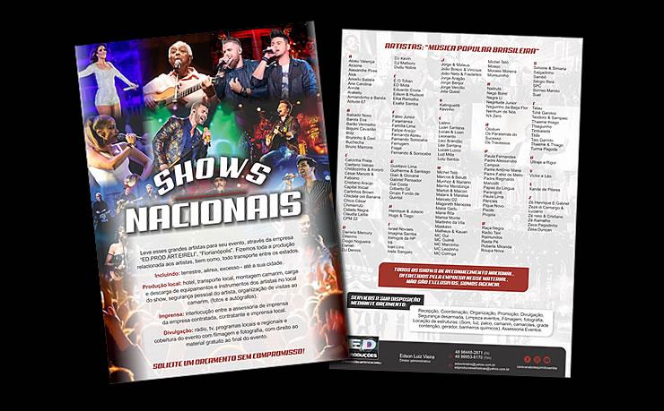 Folder Ed. Produções - Shows Nacionais